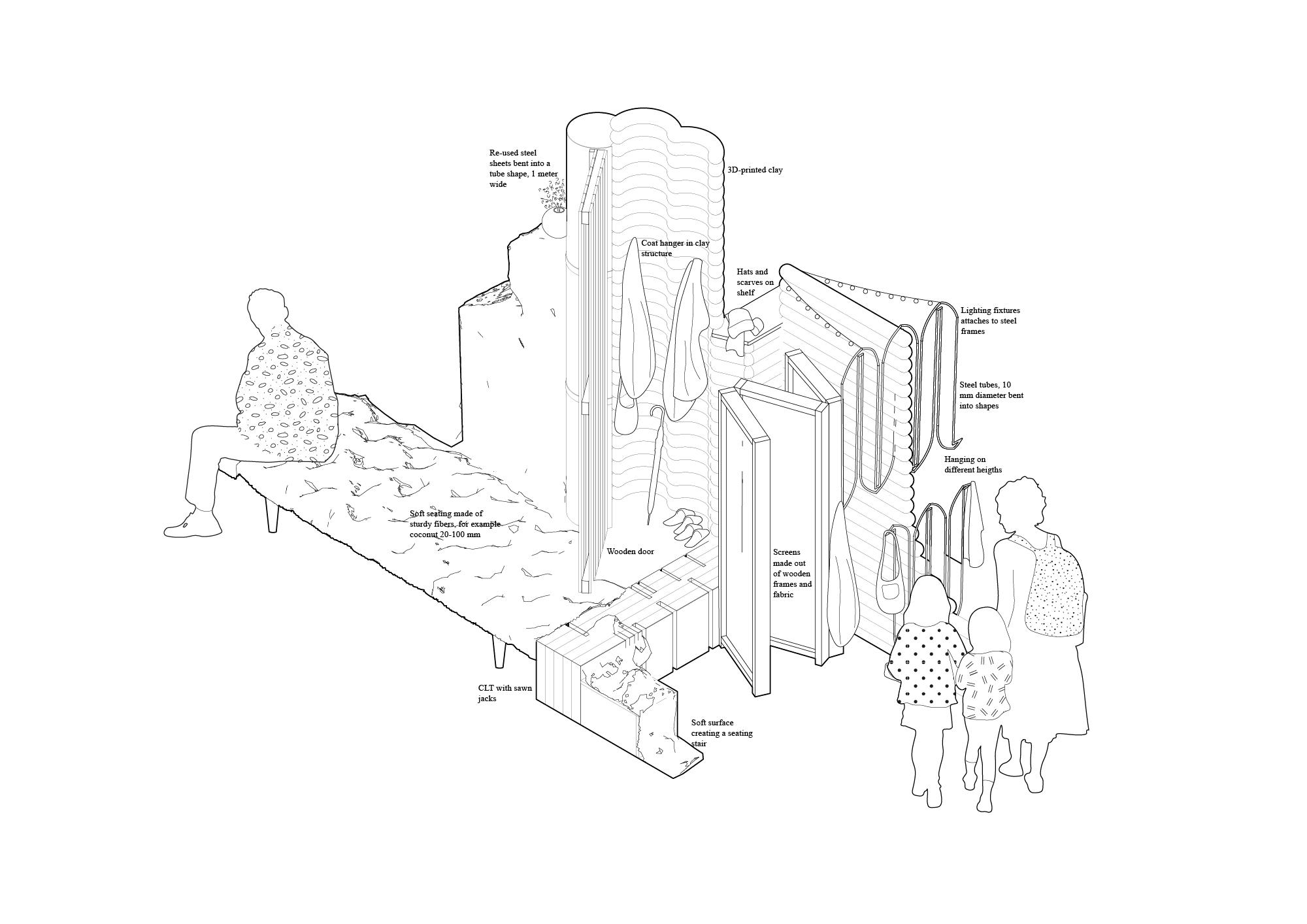 Drawing of cloak room